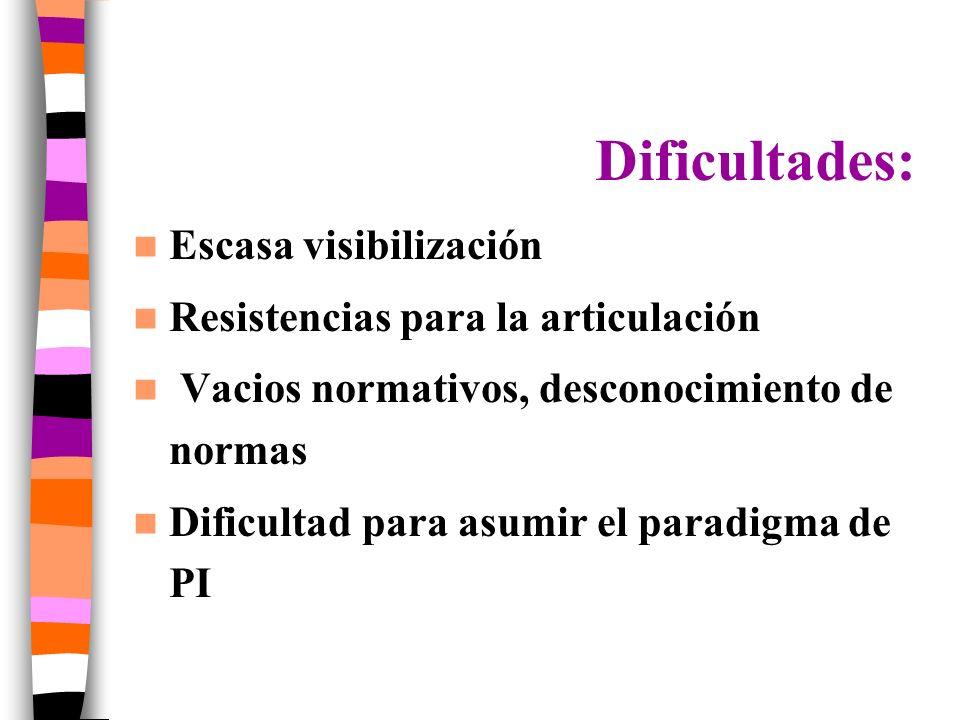 Dificultades: Escasa visibilización Resistencias para la articulación Vacios normativos, desconocimiento de normas Dificultad para asumir el paradigma de PI