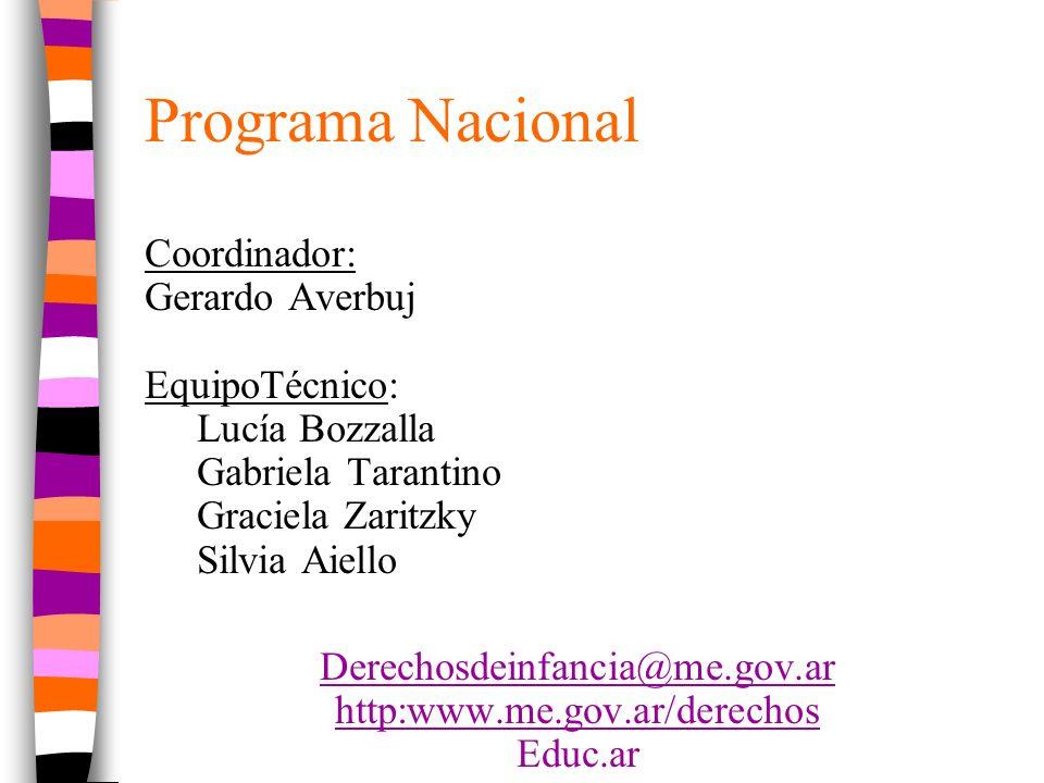 Programa Nacional Coordinador: Gerardo Averbuj EquipoTécnico: Lucía Bozzalla Gabriela Tarantino Graciela Zaritzky Silvia Aiello Derechosdeinfancia@me.gov.ar http:www.me.gov.ar/derechos Educ.ar