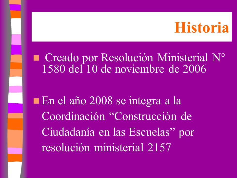 Historia Creado por Resolución Ministerial N° 1580 del 10 de noviembre de 2006 En el año 2008 se integra a la Coordinación Construcción de Ciudadanía en las Escuelas por resolución ministerial 2157