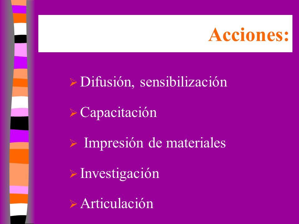 Acciones: Difusión, sensibilización Capacitación Impresión de materiales Investigación Articulación