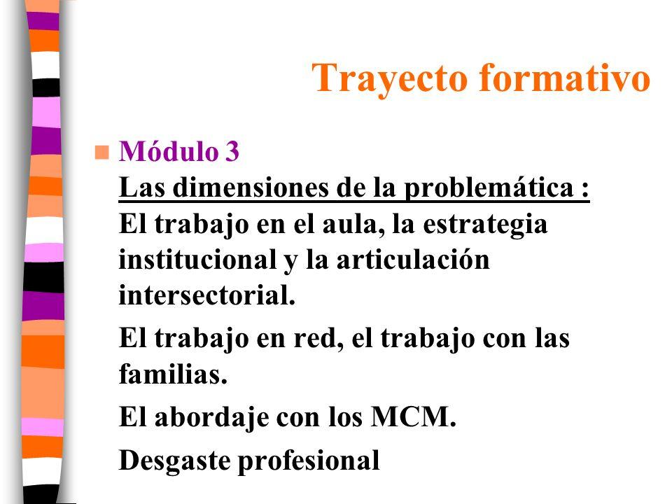 Trayecto formativo Módulo 3 Las dimensiones de la problemática : El trabajo en el aula, la estrategia institucional y la articulación intersectorial.