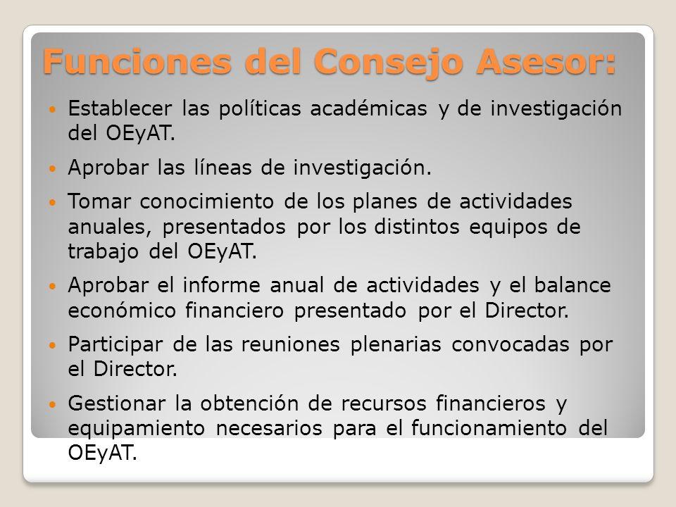 Funciones del Consejo Asesor: Establecer las políticas académicas y de investigación del OEyAT.