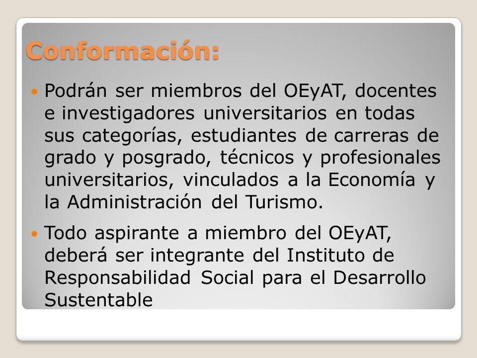 Conformación: Podrán ser miembros del OEyAT, docentes e investigadores universitarios en todas sus categorías, estudiantes de carreras de grado y posgrado, técnicos y profesionales universitarios, vinculados a la Economía y la Administración del Turismo.