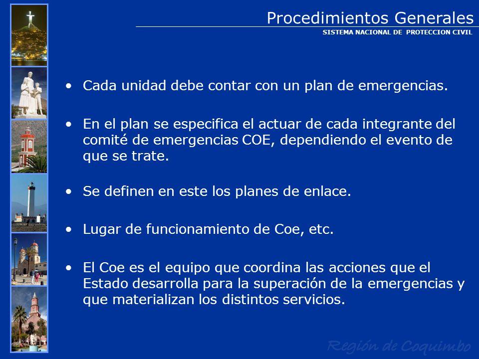 Cada unidad debe contar con un plan de emergencias. En el plan se especifica el actuar de cada integrante del comité de emergencias COE, dependiendo e