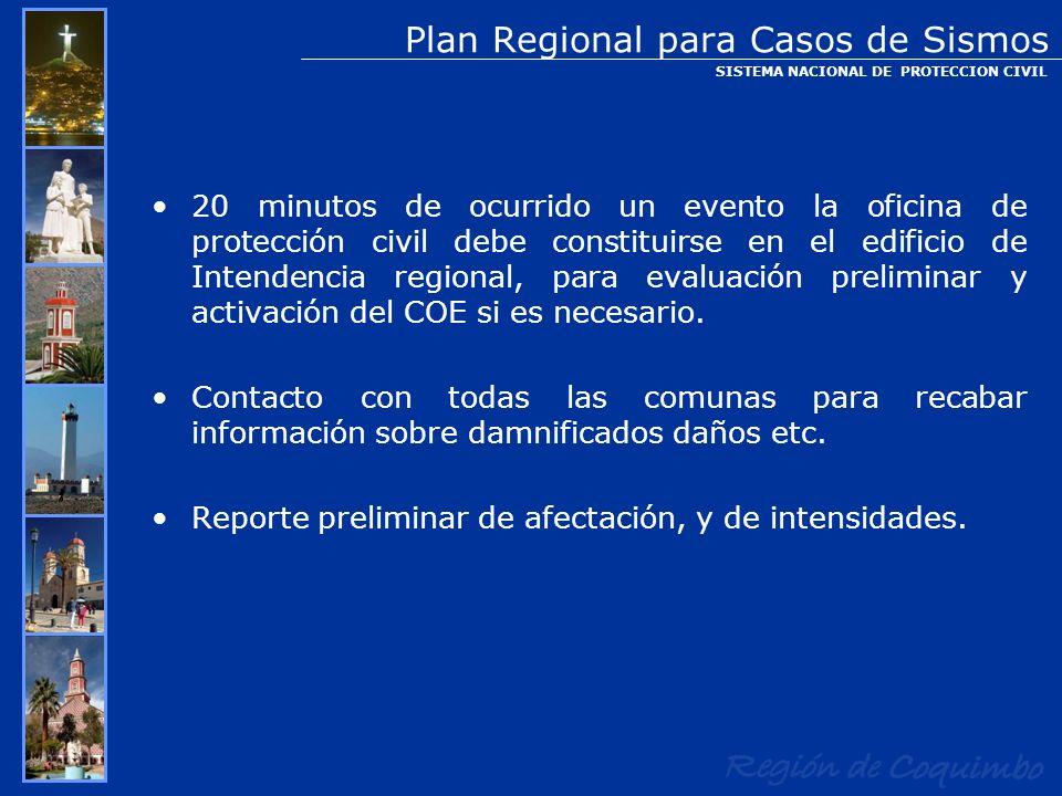 20 minutos de ocurrido un evento la oficina de protección civil debe constituirse en el edificio de Intendencia regional, para evaluación preliminar y