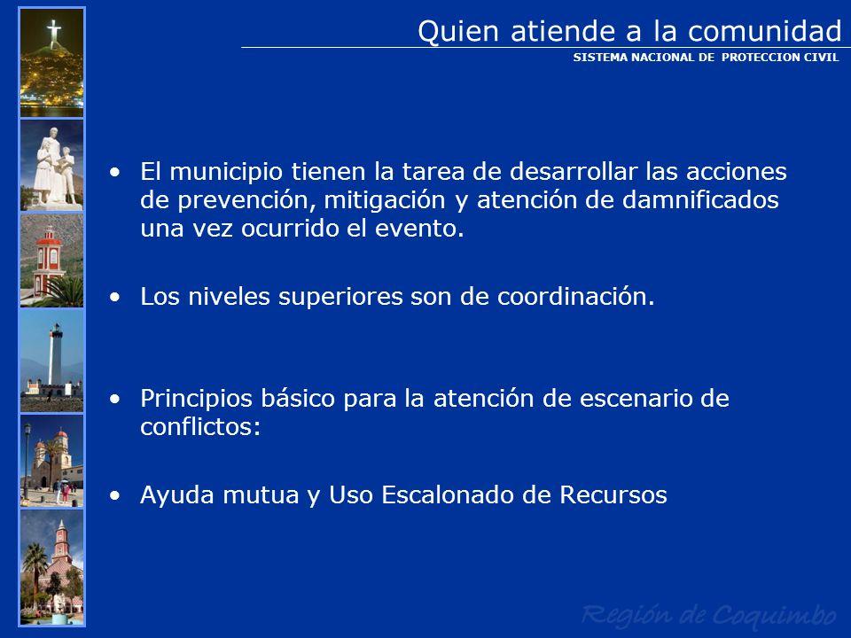 El municipio tienen la tarea de desarrollar las acciones de prevención, mitigación y atención de damnificados una vez ocurrido el evento. Los niveles