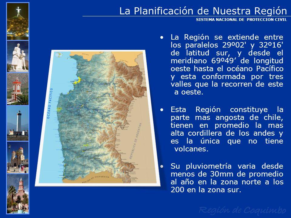 La Planificación de Nuestra Región La Región se extiende entre los paralelos 29º02' y 32º16' de latitud sur, y desde el meridiano 69º49 de longitud oe