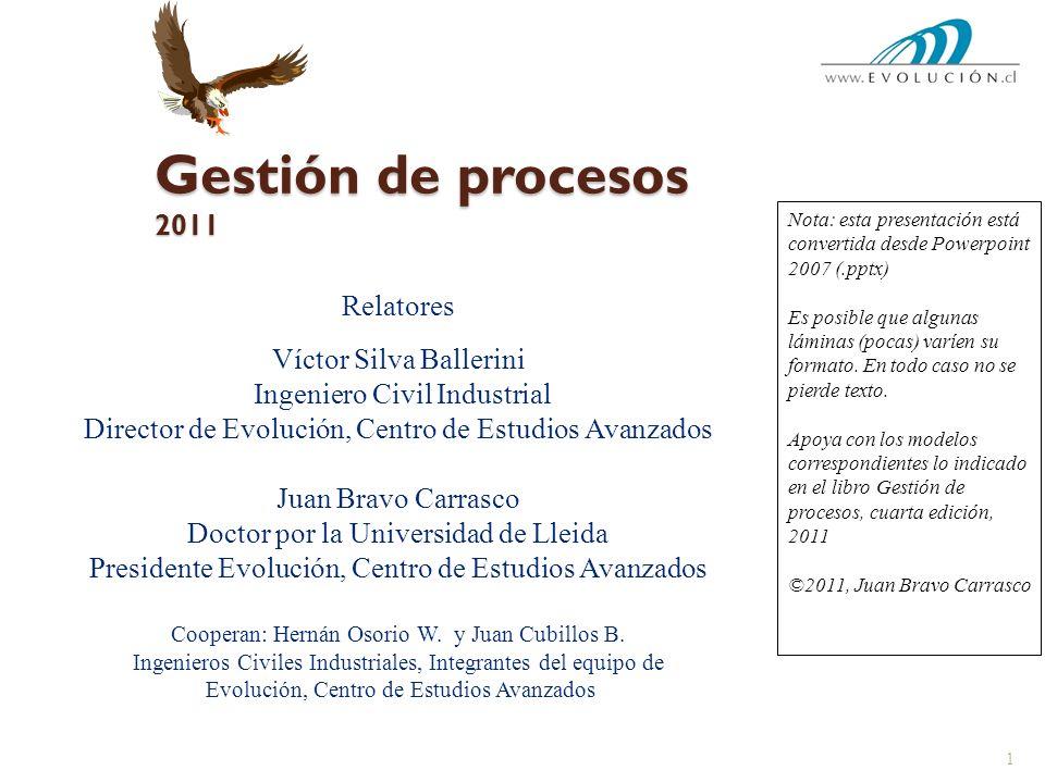 Gestión de procesos 2011 Relatores Víctor Silva Ballerini Ingeniero Civil Industrial Director de Evolución, Centro de Estudios Avanzados Juan Bravo Ca