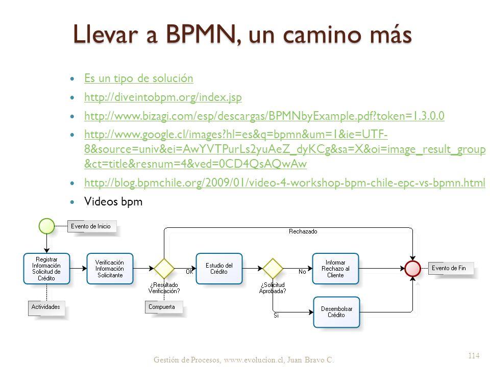 Llevar a BPMN, un camino más Es un tipo de solución http://diveintobpm.org/index.jsp http://www.bizagi.com/esp/descargas/BPMNbyExample.pdf?token=1.3.0