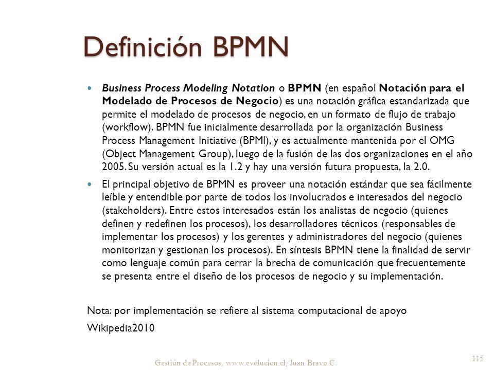 Definición BPMN Business Process Modeling Notation o BPMN (en español Notación para el Modelado de Procesos de Negocio) es una notación gráfica estand