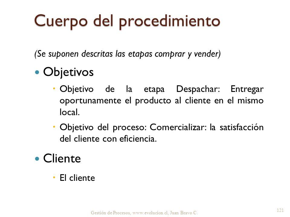 Cuerpo del procedimiento (Se suponen descritas las etapas comprar y vender) Objetivos Objetivo de la etapa Despachar: Entregar oportunamente el produc
