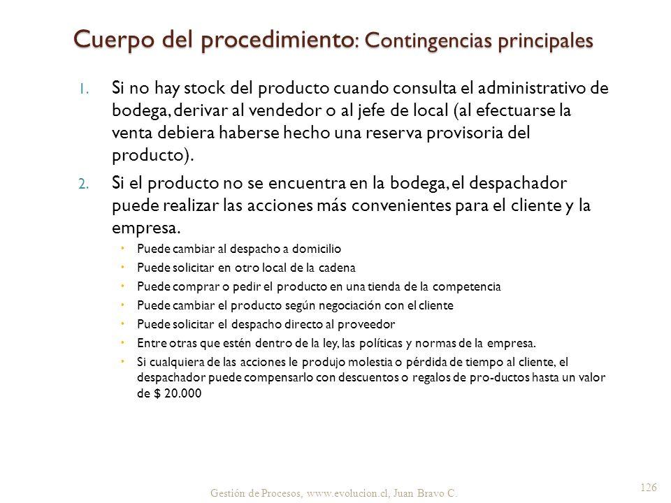 1. Si no hay stock del producto cuando consulta el administrativo de bodega, derivar al vendedor o al jefe de local (al efectuarse la venta debiera ha