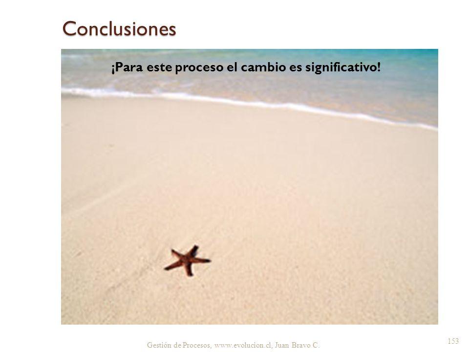 Conclusiones ¡Para este proceso el cambio es significativo! Gestión de Procesos, www.evolucion.cl, Juan Bravo C. 153