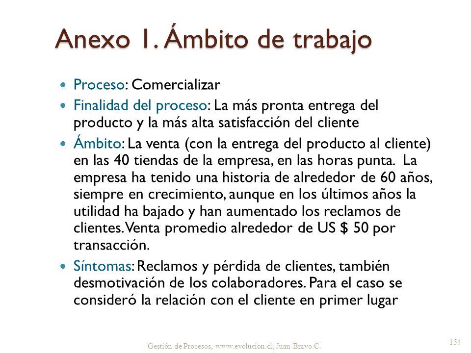 Anexo 1. Ámbito de trabajo Proceso: Comercializar Finalidad del proceso: La más pronta entrega del producto y la más alta satisfacción del cliente Ámb