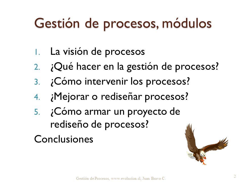 Gestión de Procesos, www.evolucion.cl, Juan Bravo C. 1. La visión de procesos 2. ¿Qué hacer en la gestión de procesos? 3. ¿Cómo intervenir los proceso