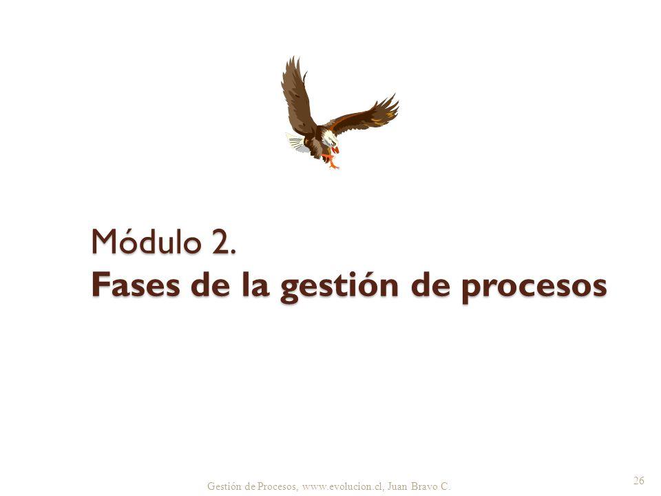 Gestión de Procesos, www.evolucion.cl, Juan Bravo C. Módulo 2. Fases de la gestión de procesos 26