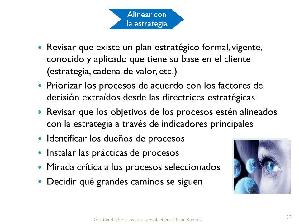 Revisar que existe un plan estratégico formal, vigente, conocido y aplicado que tiene su base en el cliente (estrategia, cadena de valor, etc.) Priori