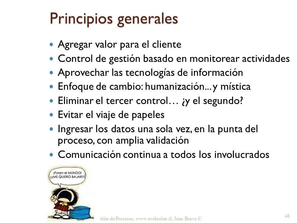 Gestión de Procesos, www.evolucion.cl, Juan Bravo C. Agregar valor para el cliente Control de gestión basado en monitorear actividades Aprovechar las
