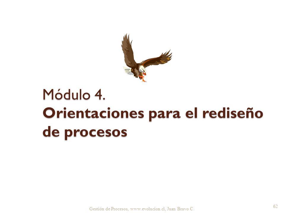 Gestión de Procesos, www.evolucion.cl, Juan Bravo C. Módulo 4. Orientaciones para el rediseño de procesos 62
