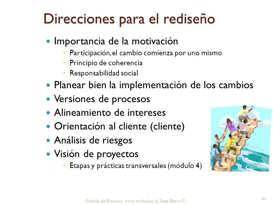 Gestión de Procesos, www.evolucion.cl, Juan Bravo C. Direcciones para el rediseño Importancia de la motivación Participación, el cambio comienza por u
