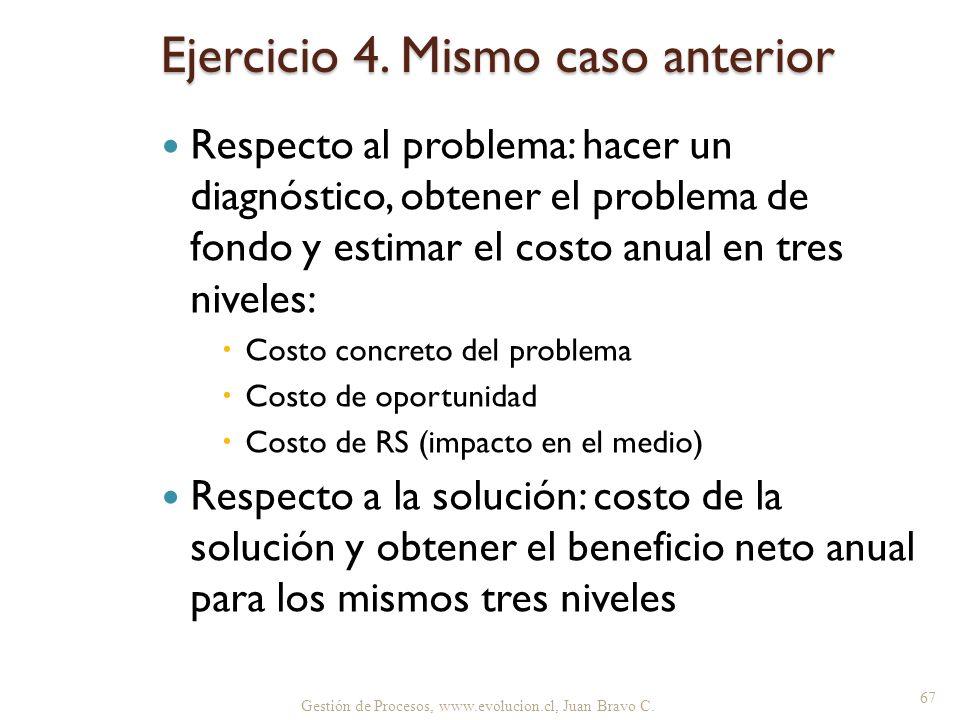 Gestión de Procesos, www.evolucion.cl, Juan Bravo C. Ejercicio 4. Mismo caso anterior Respecto al problema: hacer un diagnóstico, obtener el problema