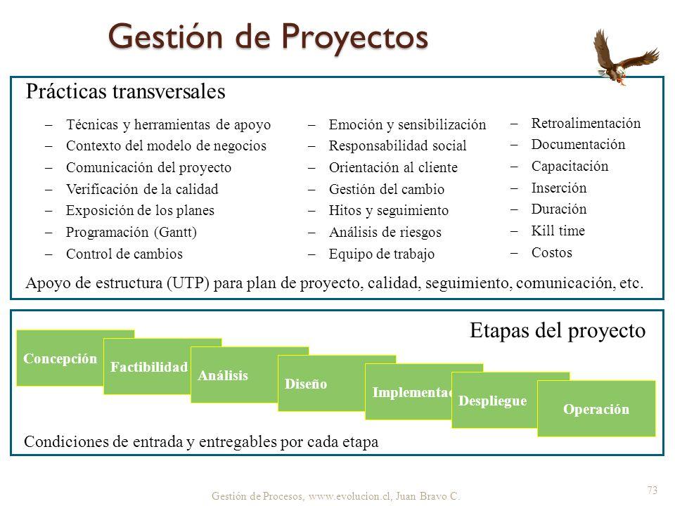 Gestión de Procesos, www.evolucion.cl, Juan Bravo C. Concepción Factibilidad Análisis Diseño Implementación Despliegue Operación Etapas del proyecto P