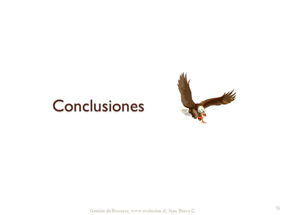 Gestión de Procesos, www.evolucion.cl, Juan Bravo C. Conclusiones 76