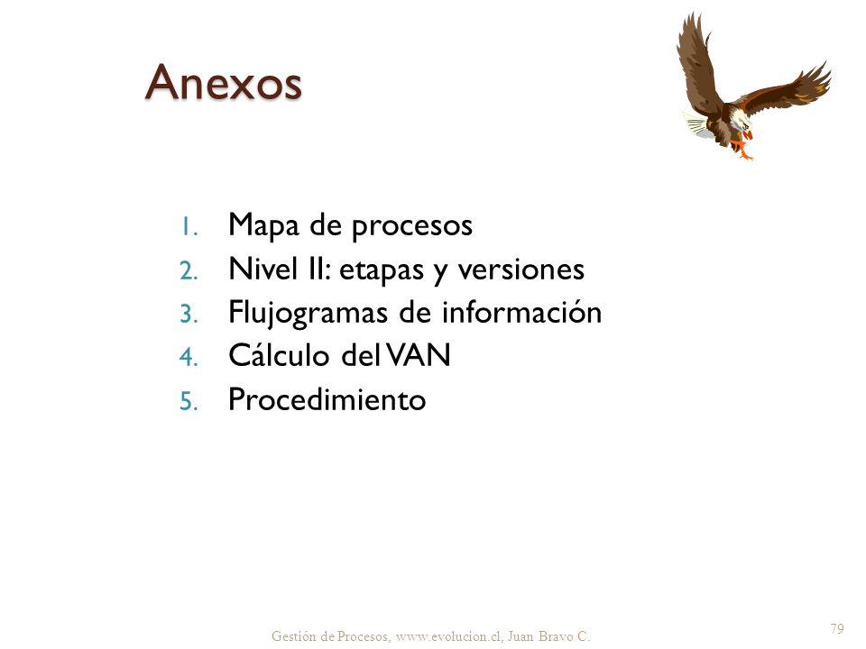Gestión de Procesos, www.evolucion.cl, Juan Bravo C. 1. Mapa de procesos 2. Nivel II: etapas y versiones 3. Flujogramas de información 4. Cálculo del