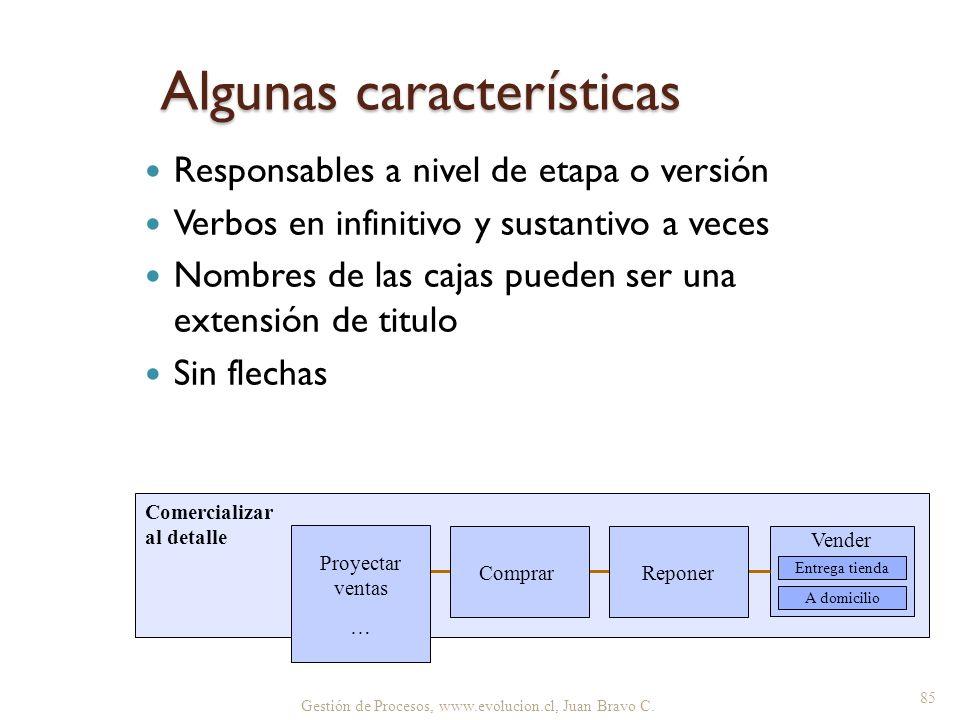 Gestión de Procesos, www.evolucion.cl, Juan Bravo C. Algunas características Responsables a nivel de etapa o versión Verbos en infinitivo y sustantivo
