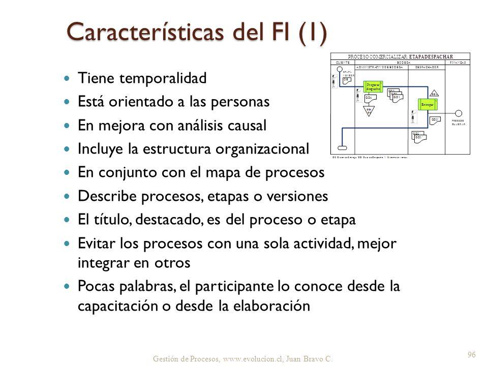 Gestión de Procesos, www.evolucion.cl, Juan Bravo C. Características del FI (1) Tiene temporalidad Está orientado a las personas En mejora con análisi