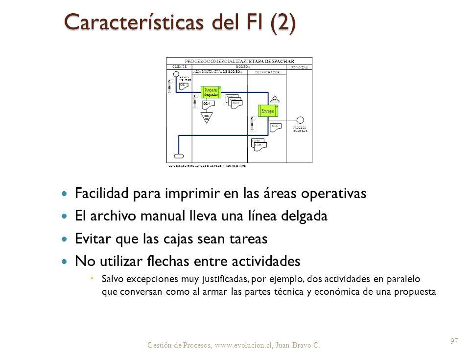 Gestión de Procesos, www.evolucion.cl, Juan Bravo C. Características del FI (2) Facilidad para imprimir en las áreas operativas El archivo manual llev