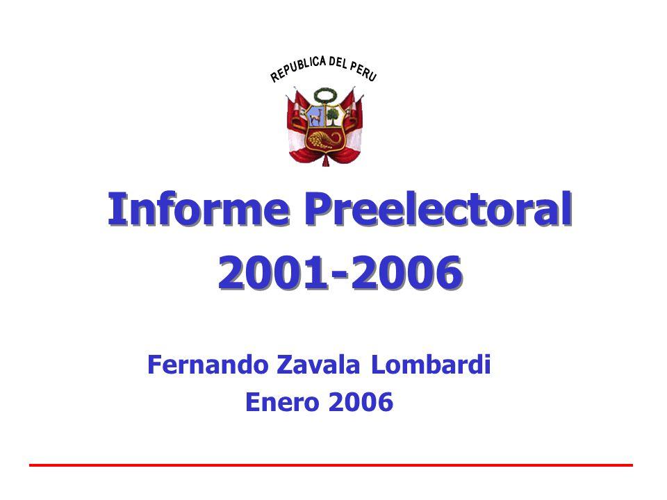 Informe Preelectoral 2001-2006 Informe Preelectoral 2001-2006 Fernando Zavala Lombardi Enero 2006