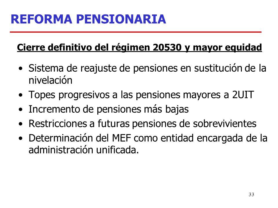 33 REFORMA PENSIONARIA Sistema de reajuste de pensiones en sustitución de la nivelación Topes progresivos a las pensiones mayores a 2UIT Incremento de pensiones más bajas Restricciones a futuras pensiones de sobrevivientes Determinación del MEF como entidad encargada de la administración unificada.
