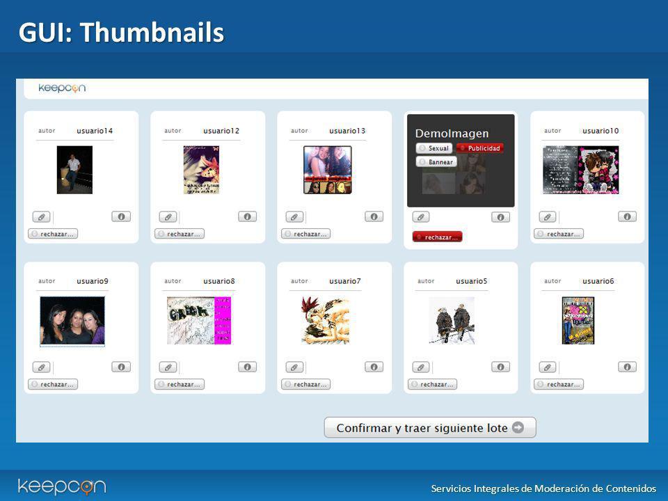 GUI: Thumbnails Servicios Integrales de Moderación de Contenidos