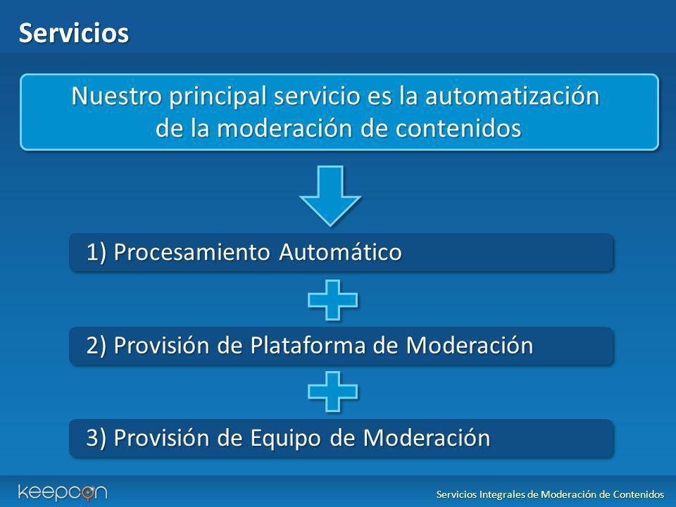 Servicios Nuestro principal servicio es la automatización de la moderación de contenidos Nuestro principal servicio es la automatización de la moderac