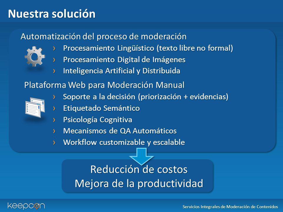 Nuestra solución Automatización del proceso de moderación Procesamiento Lingüístico (texto libre no formal) Procesamiento Lingüístico (texto libre no