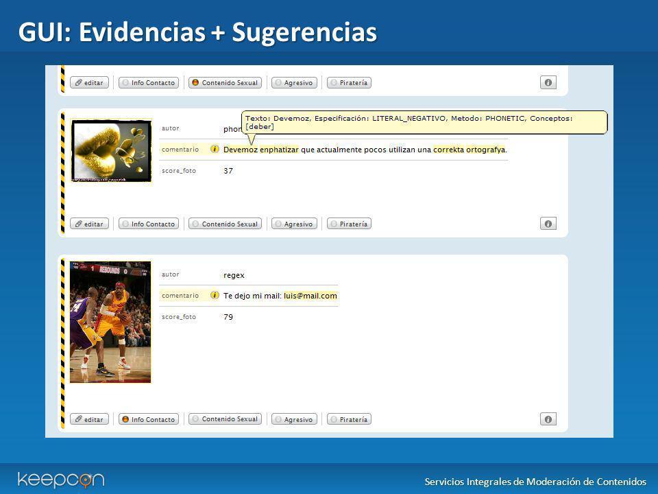 GUI: Evidencias + Sugerencias Servicios Integrales de Moderación de Contenidos