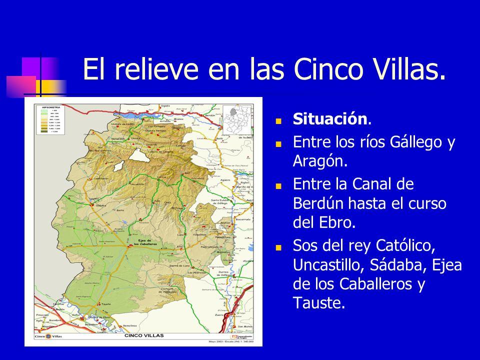 El relieve en las Cinco Villas.Situación. Entre los ríos Gállego y Aragón.