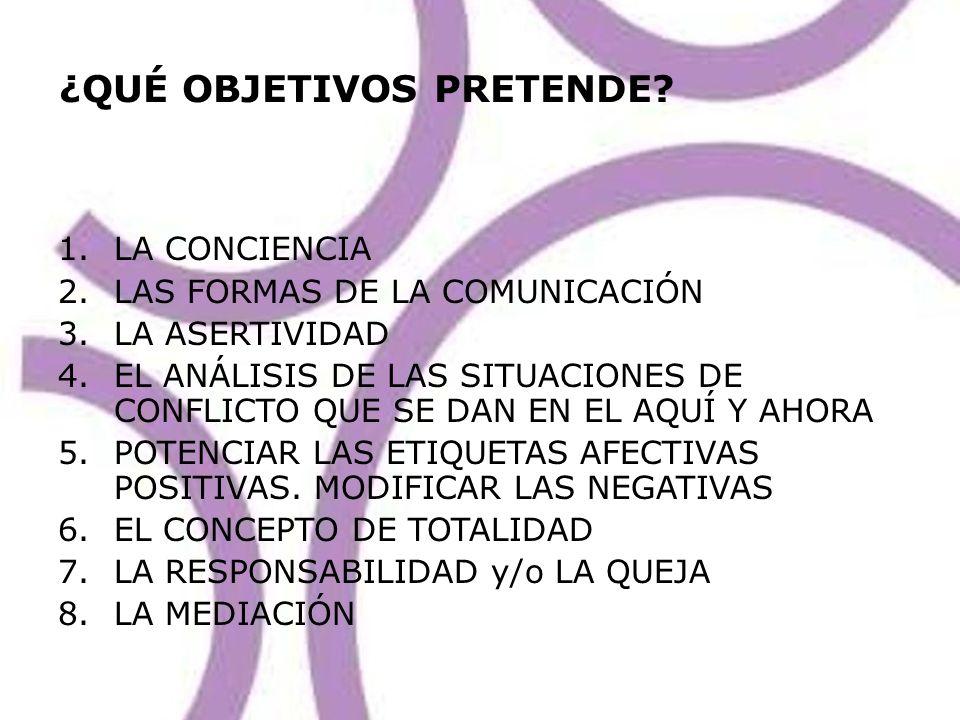 ¿QUÉ OBJETIVOS PRETENDE? 1.LA CONCIENCIA 2.LAS FORMAS DE LA COMUNICACIÓN 3.LA ASERTIVIDAD 4.EL ANÁLISIS DE LAS SITUACIONES DE CONFLICTO QUE SE DAN EN