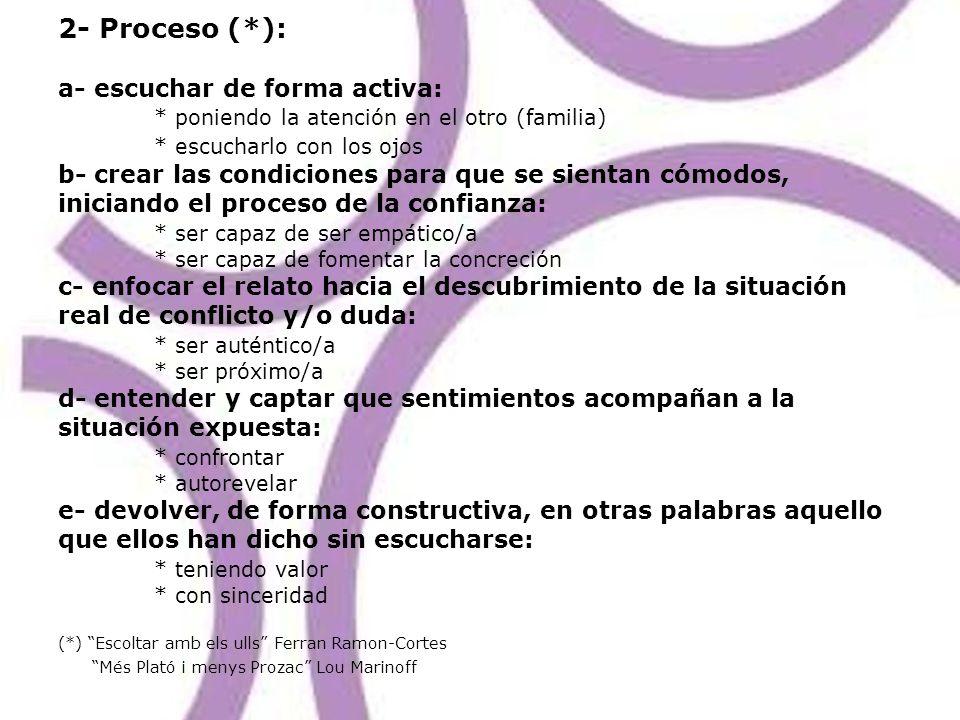 2- Proceso (*): a- escuchar de forma activa: * poniendo la atención en el otro (familia) * escucharlo con los ojos b- crear las condiciones para que s