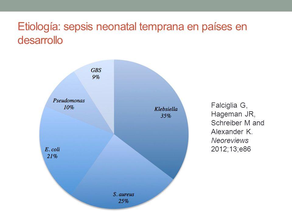 Etiología: sepsis neonatal temprana en países en desarrollo Falciglia G, Hageman JR, Schreiber M and Alexander K. Neoreviews 2012;13;e86