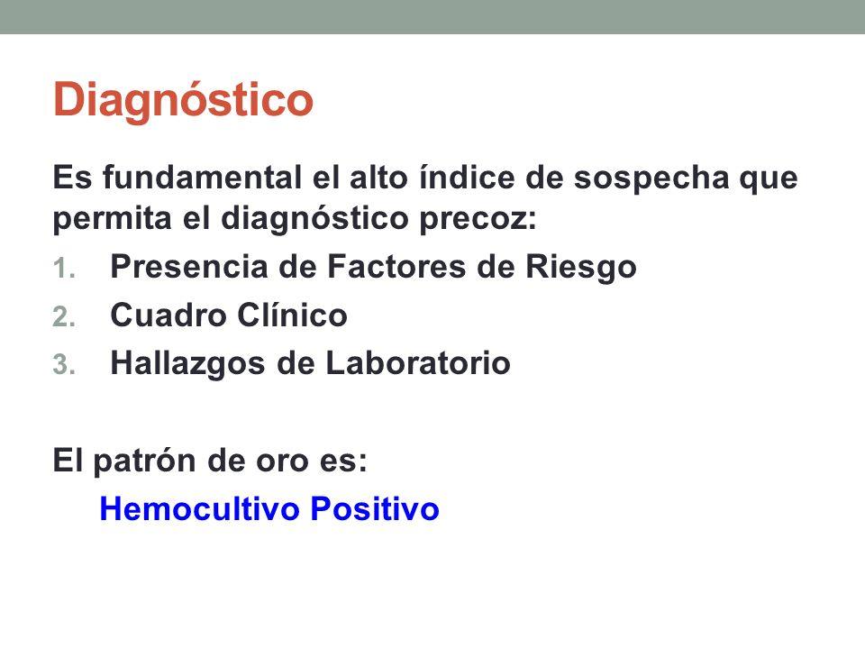 Diagnóstico Es fundamental el alto índice de sospecha que permita el diagnóstico precoz: 1. Presencia de Factores de Riesgo 2. Cuadro Clínico 3. Halla