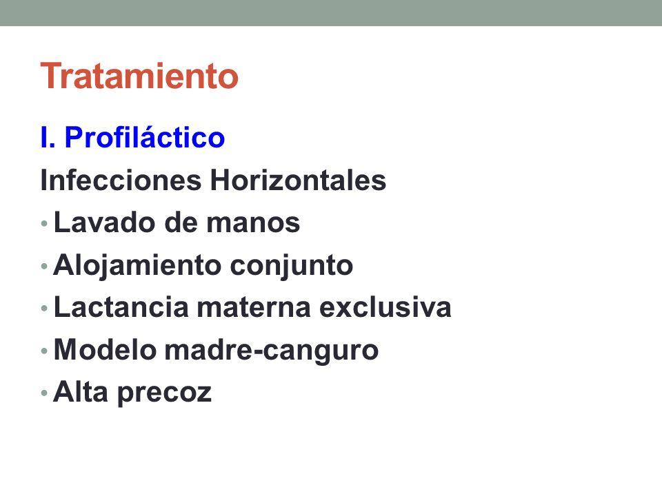 Tratamiento I. Profiláctico Infecciones Horizontales Lavado de manos Alojamiento conjunto Lactancia materna exclusiva Modelo madre-canguro Alta precoz