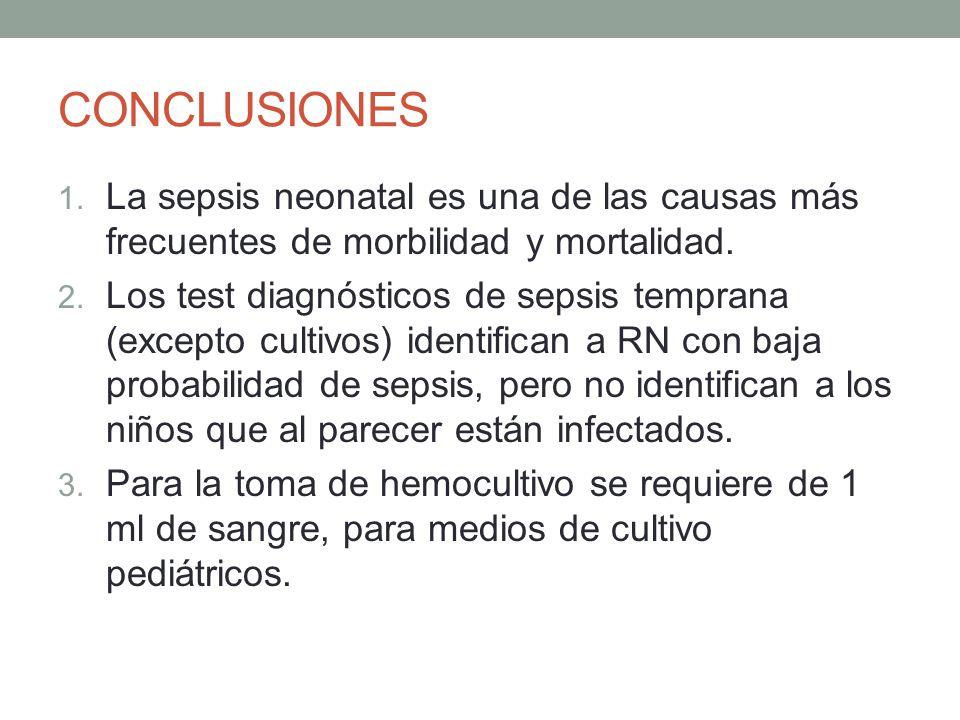 CONCLUSIONES 1. La sepsis neonatal es una de las causas más frecuentes de morbilidad y mortalidad. 2. Los test diagnósticos de sepsis temprana (except