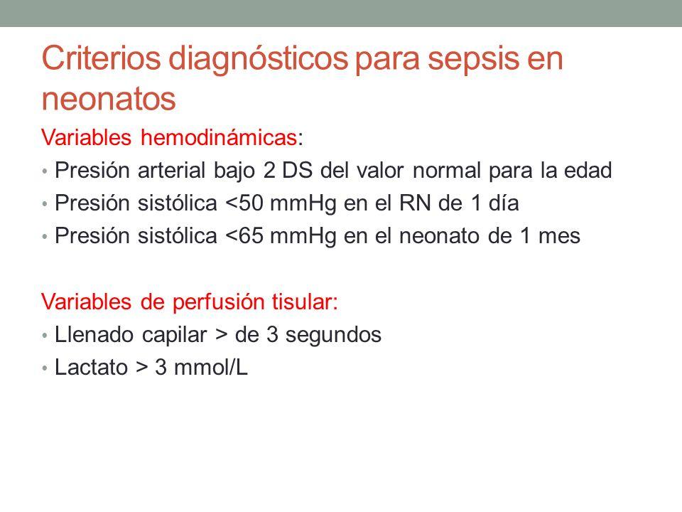 Criterios diagnósticos para sepsis en neonatos Variables hemodinámicas: Presión arterial bajo 2 DS del valor normal para la edad Presión sistólica <50