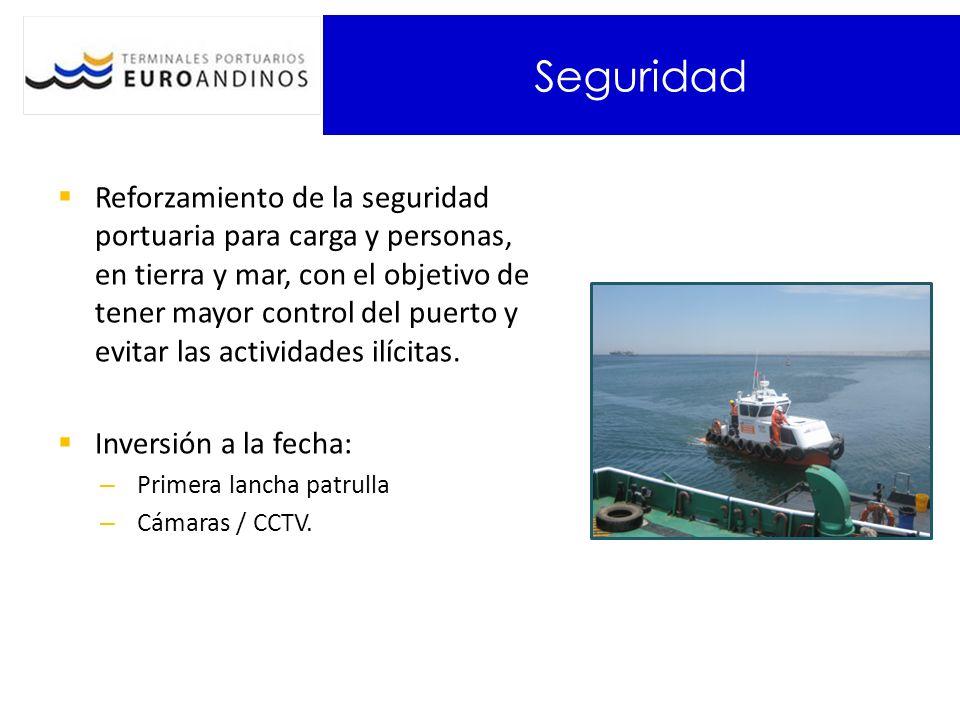 Seguridad Reforzamiento de la seguridad portuaria para carga y personas, en tierra y mar, con el objetivo de tener mayor control del puerto y evitar las actividades ilícitas.