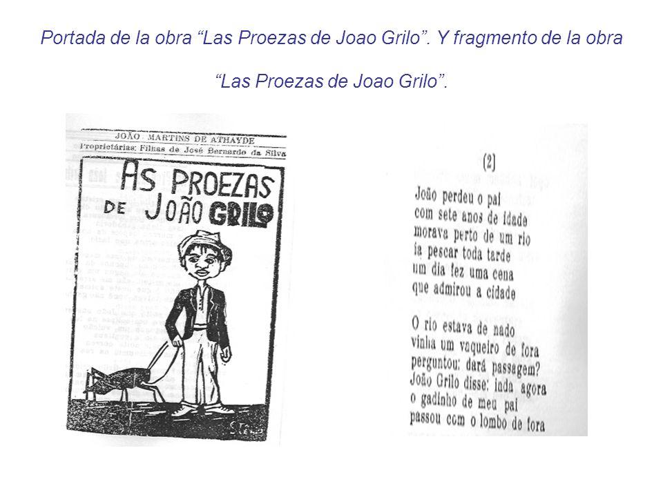 Portada de la obra Las Proezas de Joao Grilo. Y fragmento de la obra Las Proezas de Joao Grilo.
