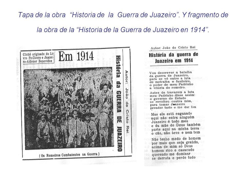 Tapa de la obra Historia de la Guerra de Juazeiro. Y fragmento de la obra de la Historia de la Guerra de Juazeiro en 1914.