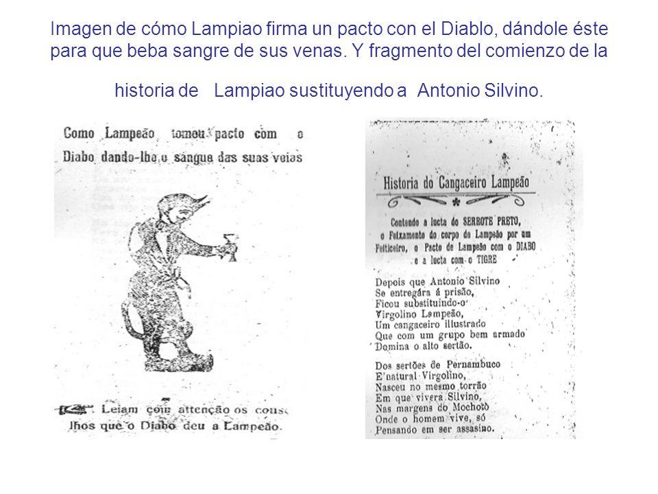 Imagen de cómo Lampiao firma un pacto con el Diablo, dándole éste para que beba sangre de sus venas. Y fragmento del comienzo de la historia de Lampia