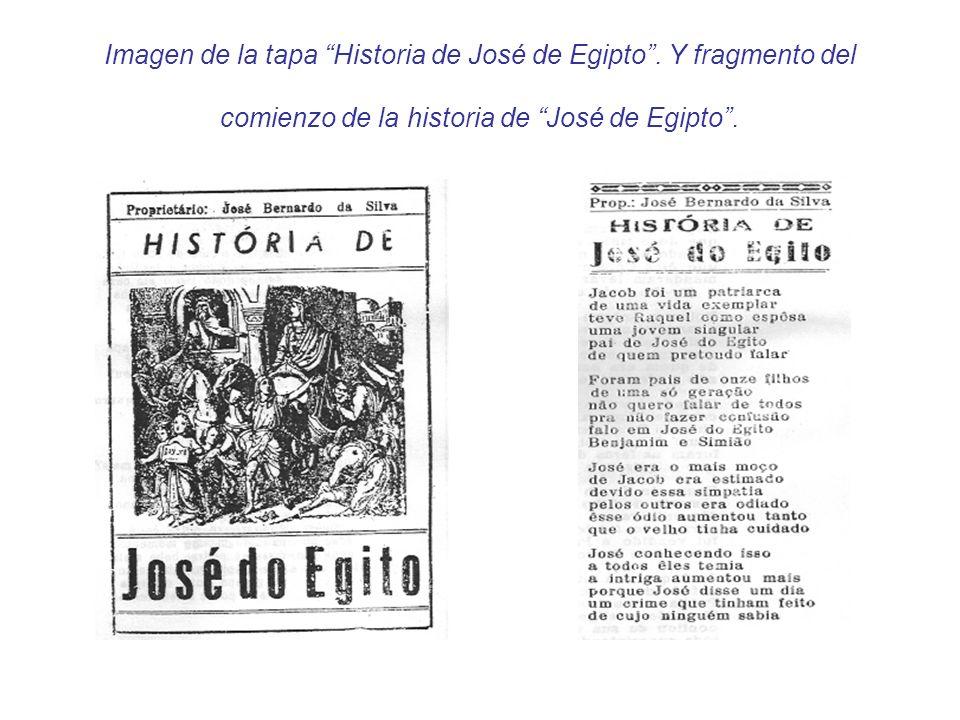 Imagen de la tapa Historia de José de Egipto. Y fragmento del comienzo de la historia de José de Egipto.